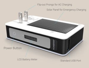 The PowerTrip is a triple powered charger for your phone, e-reader, tablet and other small mobile devices. The 6000 mAh battery will fully charge your phone multiple times and can add hours of life to a tablet. Recharges by connecting to a USB port, plugging into a wall outlet and can receive an emergency charge from the solar panel. The PowerTrip is a CES award winner. Add optional flash memory so your charger doubles as a hard drive to store and back-up computer files. Packaged in a black zipper case.