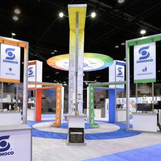 design de kiosque d'exposition, kiosque d'exposition, planification et logistique, Skyline Entourage