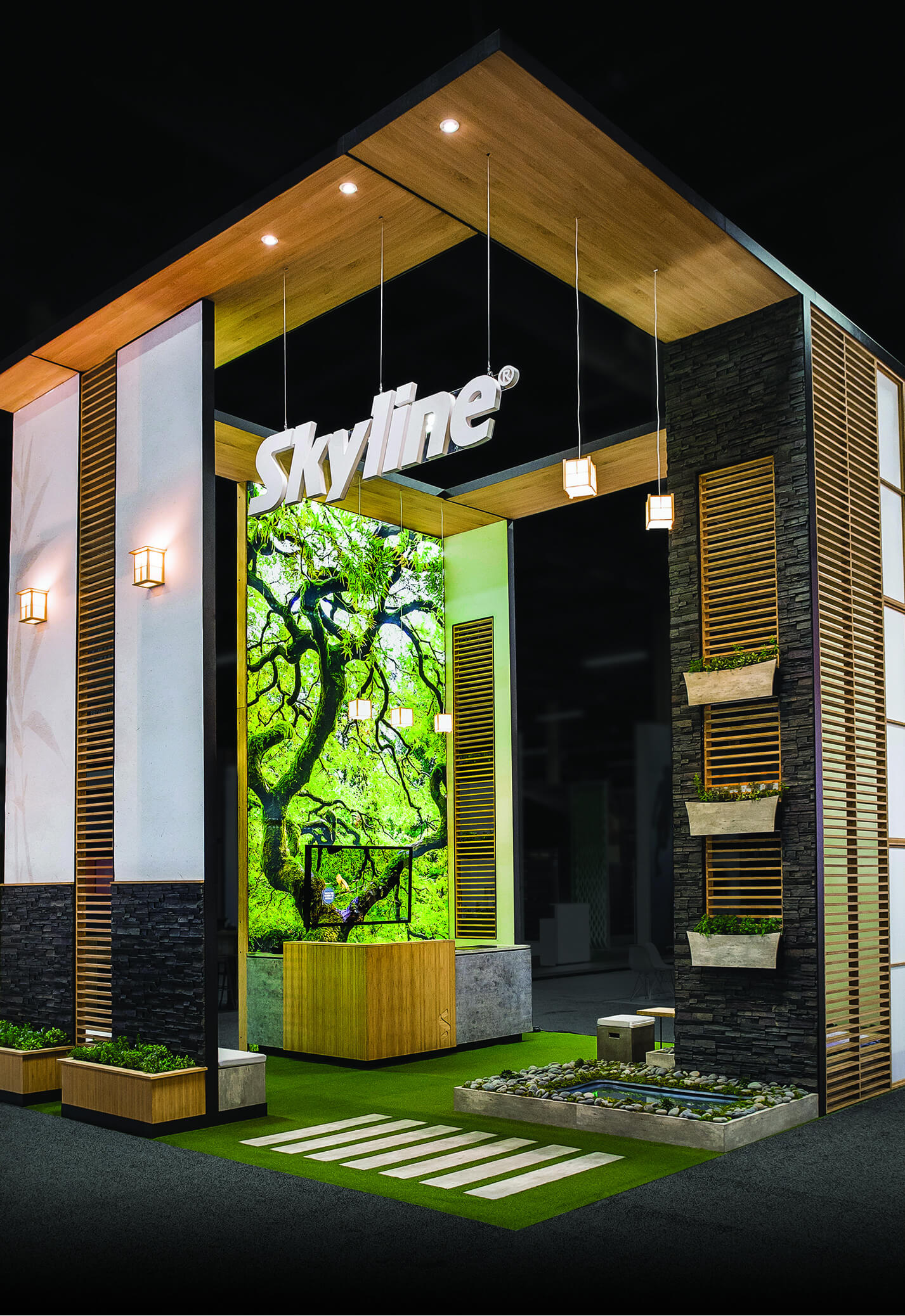 Custom Island Trade Show Booth _ Exhibitor Live Skyline