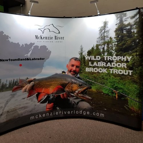 McKenzie River curved mirage man holding trout, trade show solutions, Skyline Entourage