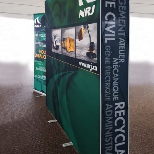NRJ green and black immerse graphic and banner stand, trade show solutions, Skyline Entourage