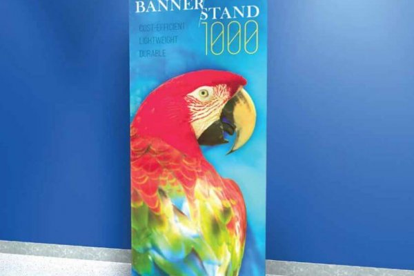 Bannerstand with Macaw parrot, trade show solutions, Skyline Entourage