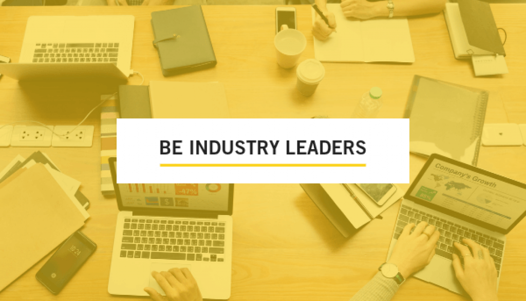 Be Industry Leaders Overlay on yellow desktop background, trade show solutions, Skyline Entourage