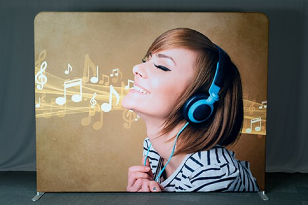 Sample graphic invita of woman with headphones, trade show solutions, Skyline Entourage