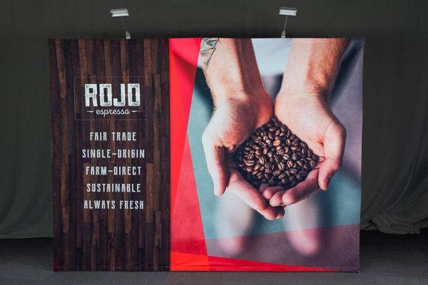 Rojo Espresso wood grain and handful of coffee beans backwall graphic, trade show solutions, Skyline Entourage