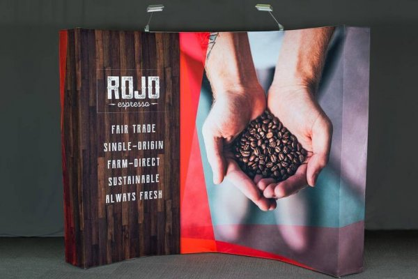 Rojo Espresso wood grain and handful of coffee beans curved backwall graphic, trade show solutions, Skyline Entourage