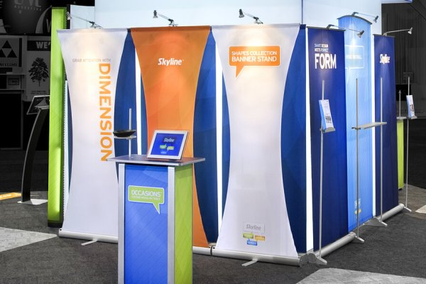 White blue and orange layered bannerstand graphics, trade show solutions, Skyline Entourage