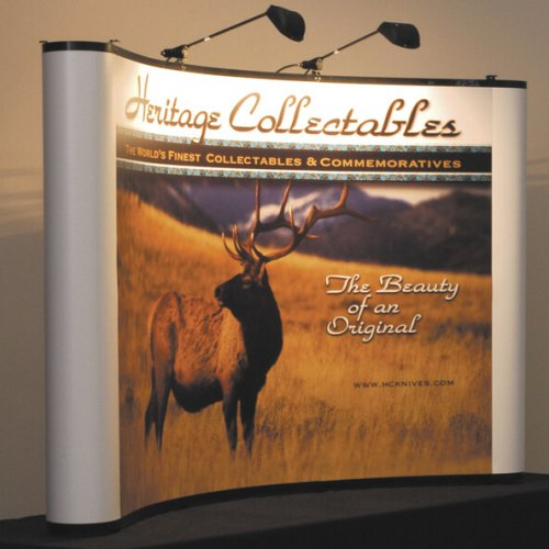 Curved mirage backwall with photo of a deer, trade show solutions, Skyline Entourage