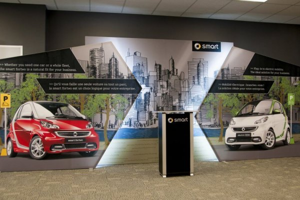 Smart Car custom picture scapes with offset layering and lighting, trade show solutions, Skyline Entourage