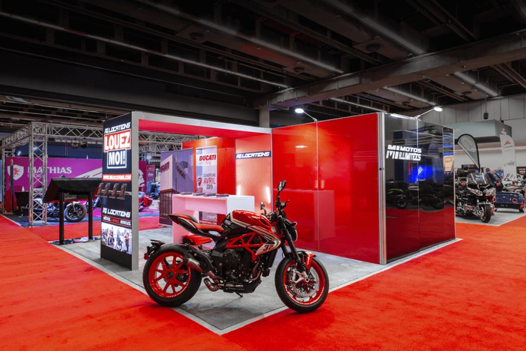Moto Illimitee, 20x20, Island Exhibits, Quebec Motorcycle Show, 2019