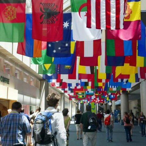 Public hall with international flags, trade show solutions, Skyline Entourage