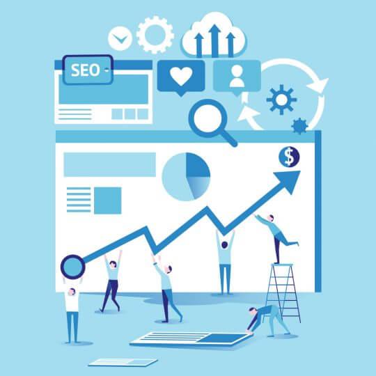 Illustration of SEO analytics, trade show marketing, Skyline Entourage