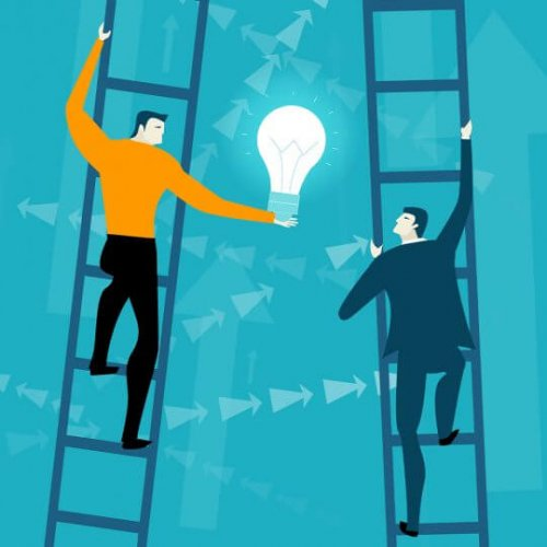 Illustration of people on ladders passing a lightbulb to each other, Trade show marketing, skyline entourage