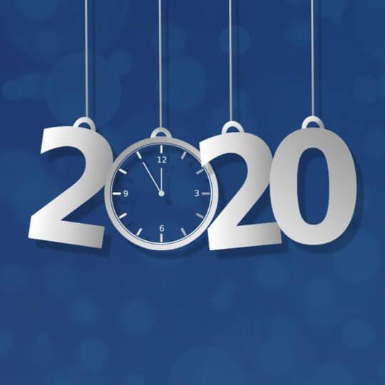 2020 with clock graphic, Skyline Entourage