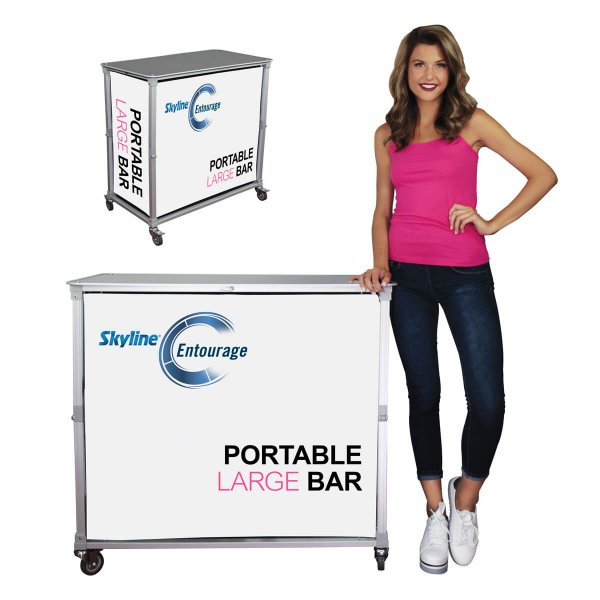 Front view of a portable bar counter with woman standing beside for size reference, covid-19 business solutions, Skyline Entourage