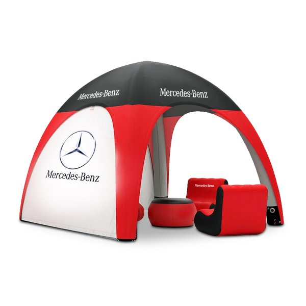 Red, white and black domed outdoor tent with furniture and lounge, covid-19 business solutions, Skyline Entourage