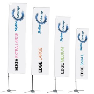 4 sizes of rectangular flags, covid-19 business solutions, Skyline Entourage