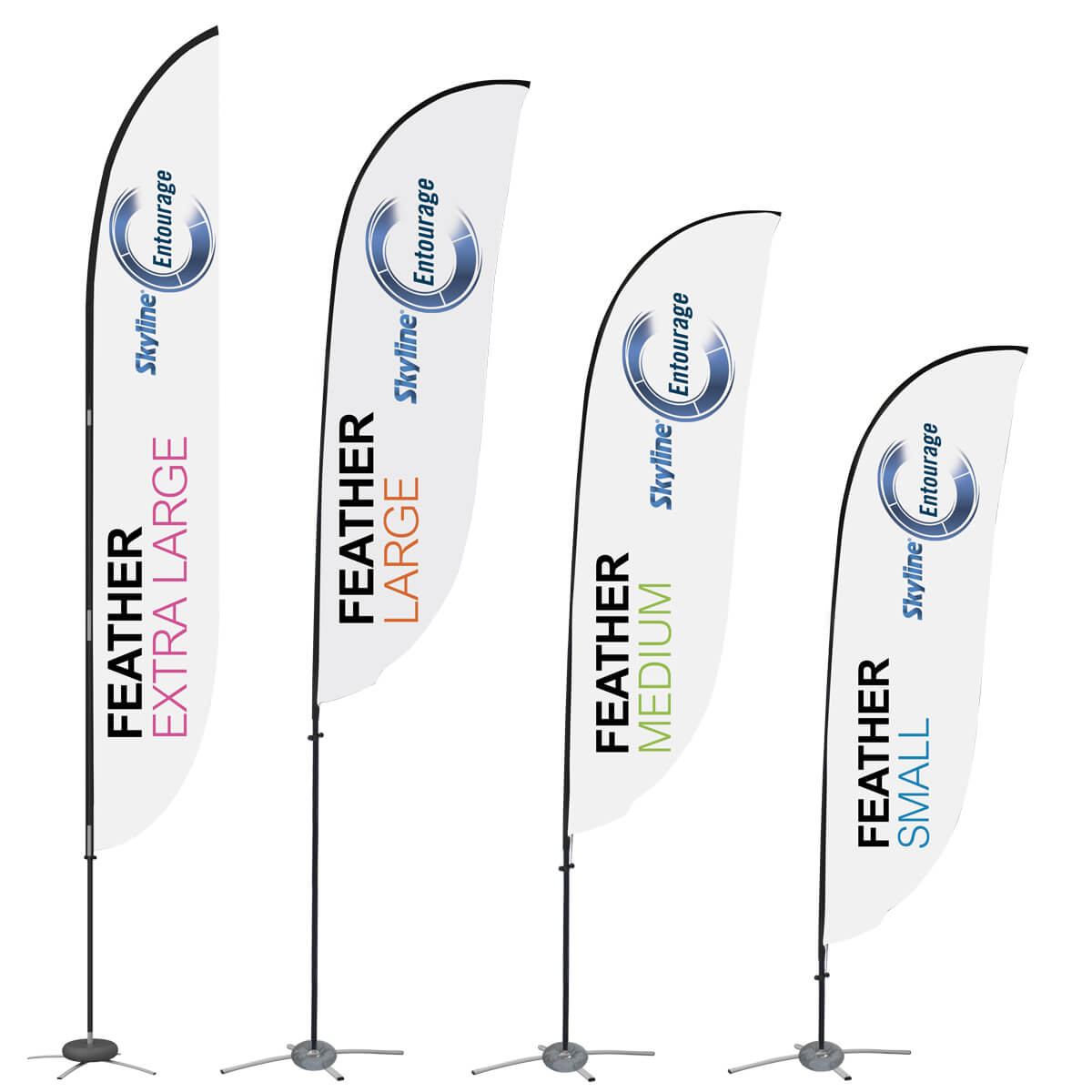 4 sizes of feathered flags, covid-19 business solutions, Skyline Entourage