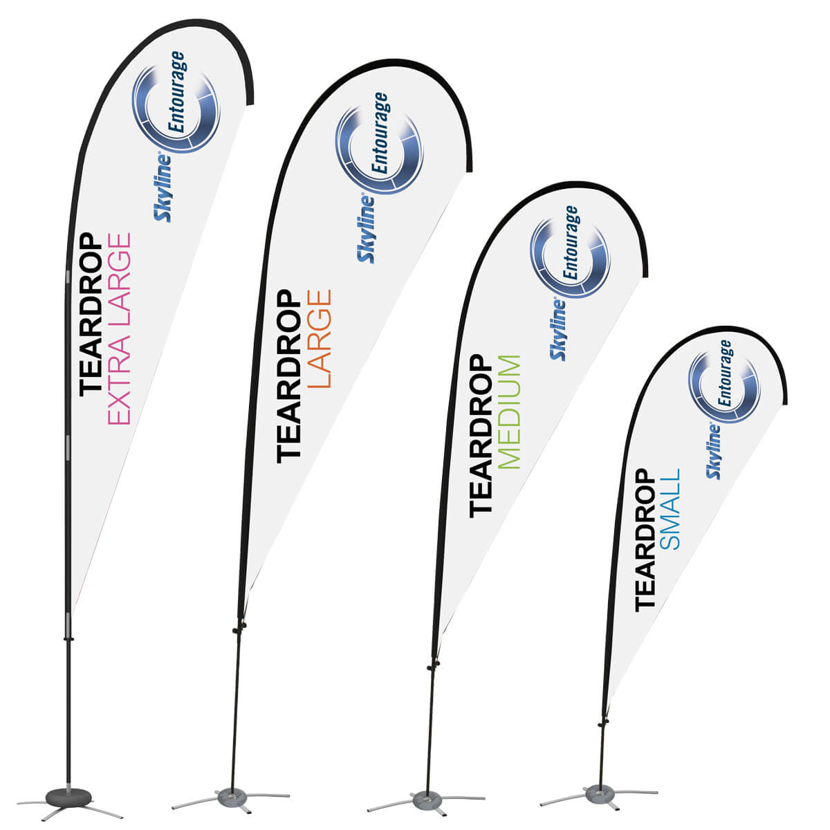 4 sizes of tear drop flags, covid-19 business solutions, Skyline Entourage
