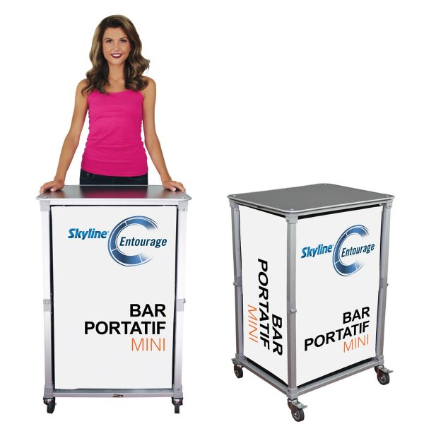 Front and angled view of a mini portable bar counter with woman for size reference, covid-19 business solutions, Skyline Entourage