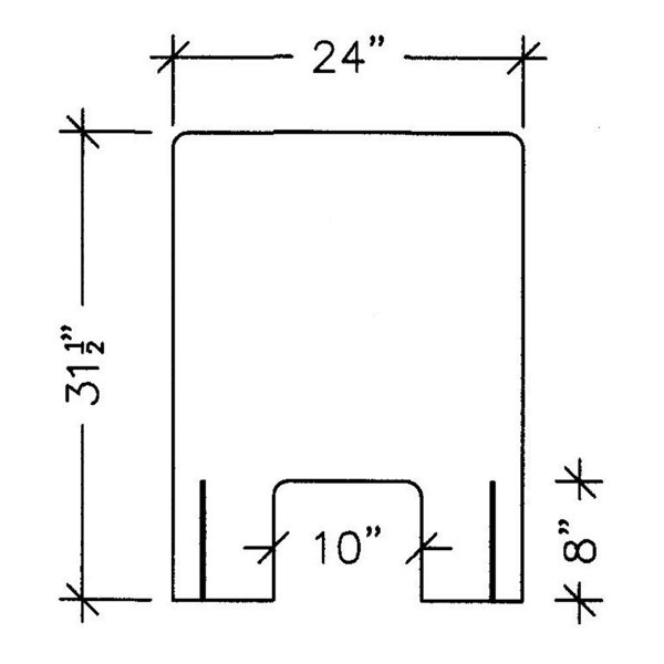 """line drawing front view illustration of a 24"""" acrylic protection panel with measurements, covid-19 business solutions, Skyline Entourage"""