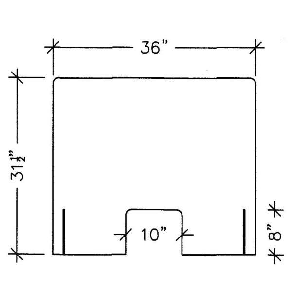 """line drawing front view illustration of a 36"""" acrylic protection panel with measurements, covid-19 business solutions, Skyline Entourage"""