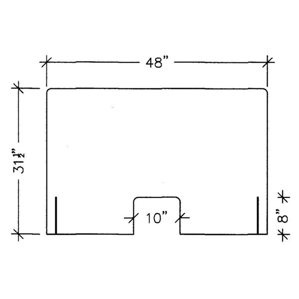 """line drawing front view illustration of a 48"""" acrylic protection panel with measurements, covid-19 business solutions, Skyline Entourage"""