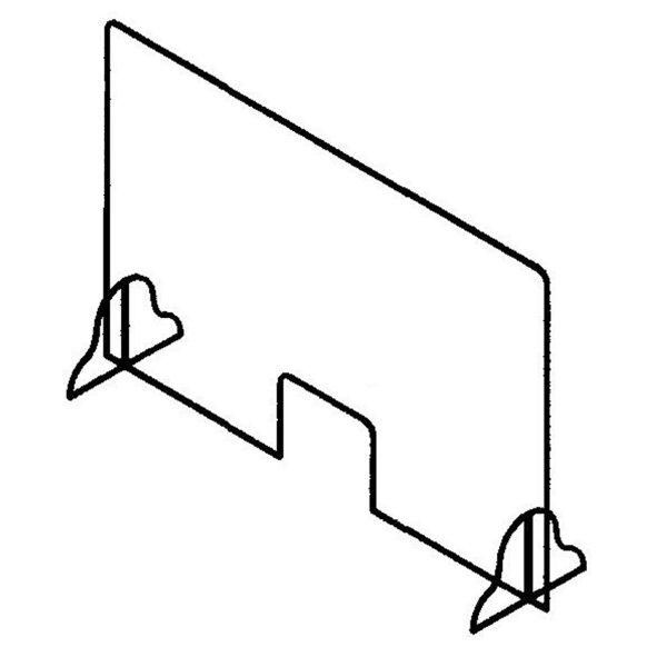 "line drawing of a 48"" acrylic protection panel, office safety, covid-19, coronavirus, skyline entourage"