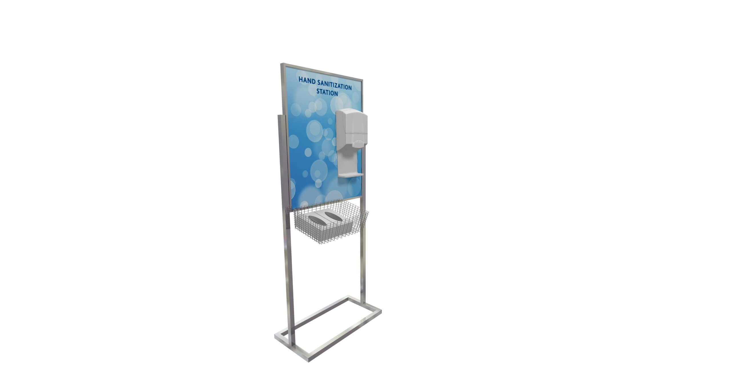 Display sign with attached hand sanitizer dispenser and glove basket, covid-19 business solutions, Skyline Entourage