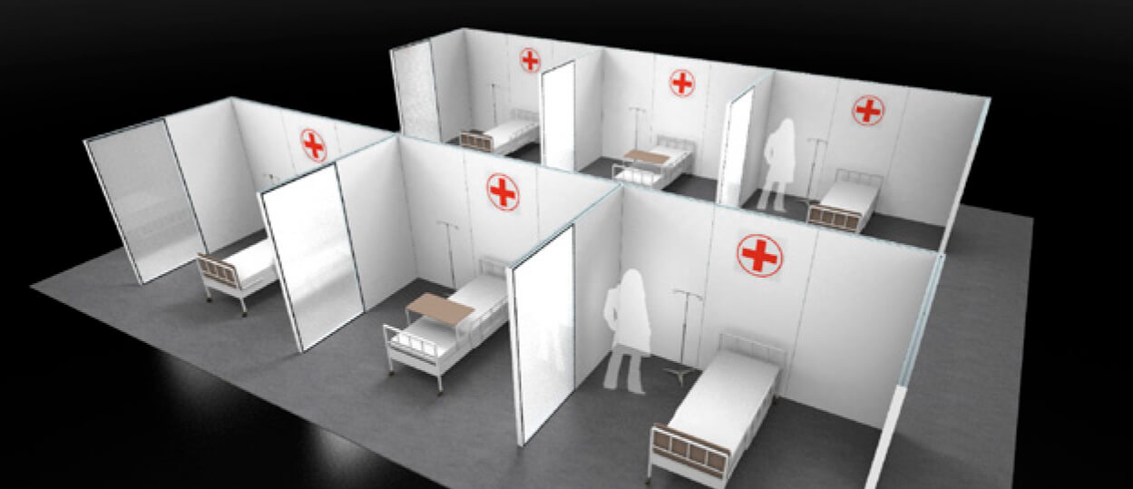 Illustration of temporary hospital clinic rooms, covid-19 business solutions, Skyline Entourage
