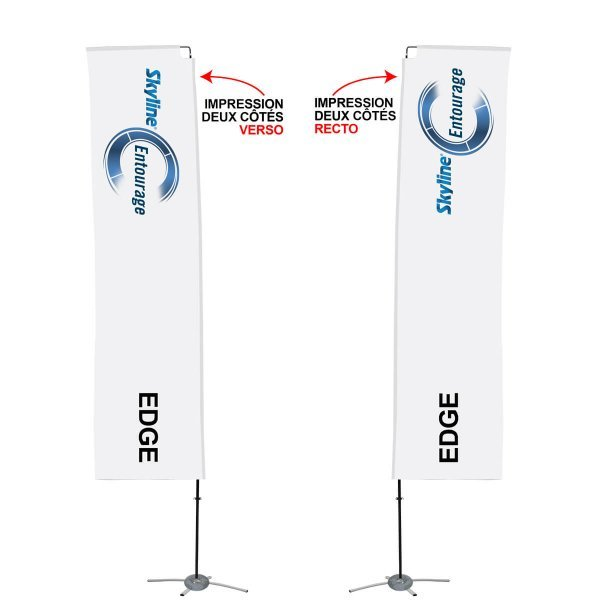 Rectangular flag printed on two sides, covid-19 business solutions, Skyline Enrourage