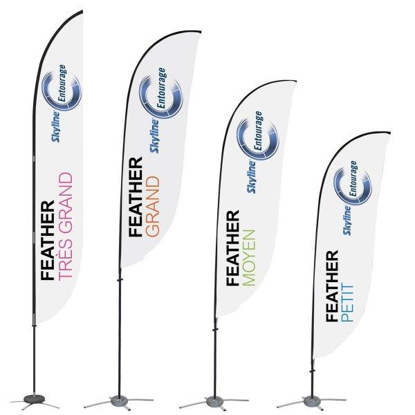 4 grandeurs de drapeaux à plume, solutions d'affaires de covid-19, Skyline Entourage
