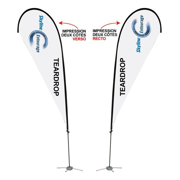 Tear drop flag printed on two sides, covid-19 business solutions, Skyline Entourage