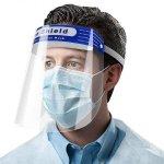 Homme avec un écran faciaux et masque de visage, Écrans faciaux, EPI, PPE, Protection, Sécurité, Covid19, coronavirus, Skyline Entourage