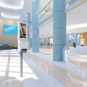 Mock-up of sanitization station with digital display in a public lobby, covid-19 business solutions, Skyline Entourage
