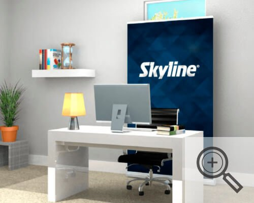 Bannerstand placed behind desk as backdrop for video calls, covid-19 business solutions, Skyline Entourage