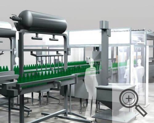 Illustration of Plexiglass barriers for assembly line workers, covid-19 buniness solutions, Skyline Entourage