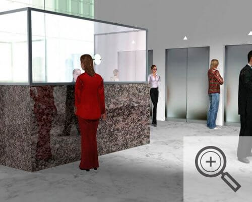 Illustration of reception counter with plexiglass window, covid-19 business solutions, Skyline Entourage