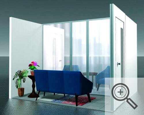 Illustration of an enclosed visiting area for seniors residences, covid-19 business solutions, Skyline Entourage