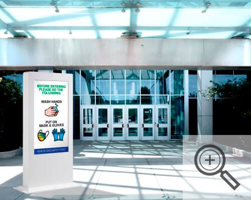 Kiosk with digital display outside of main building entrance, Covid-19 business solutions, Skyline Entourage