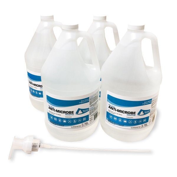 4 Bottles of Hand Sanitizer with hand pump, Trade show safety, Sanitizing products, Skyline Entourage