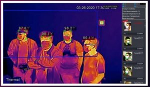 IR Screen showing a Temperature check of people, PPE, IR Scan, Temperature Scan, Safety Solutions, Skyline Entourage