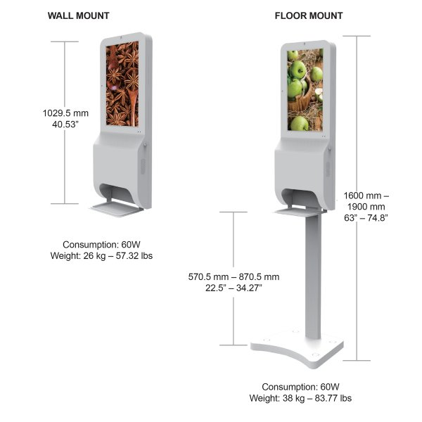 measurements and details for a sanitizing station with monitor, Covid-19 business solutions, Skyline entourage