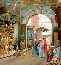 A painting of a bazaar in 3000 BCE, trade show solutions, Skyline Entourage