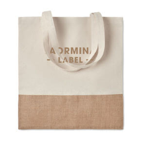 Branded Jute and twill tote bag giveaway, trade show marketing, Skyline Entourage