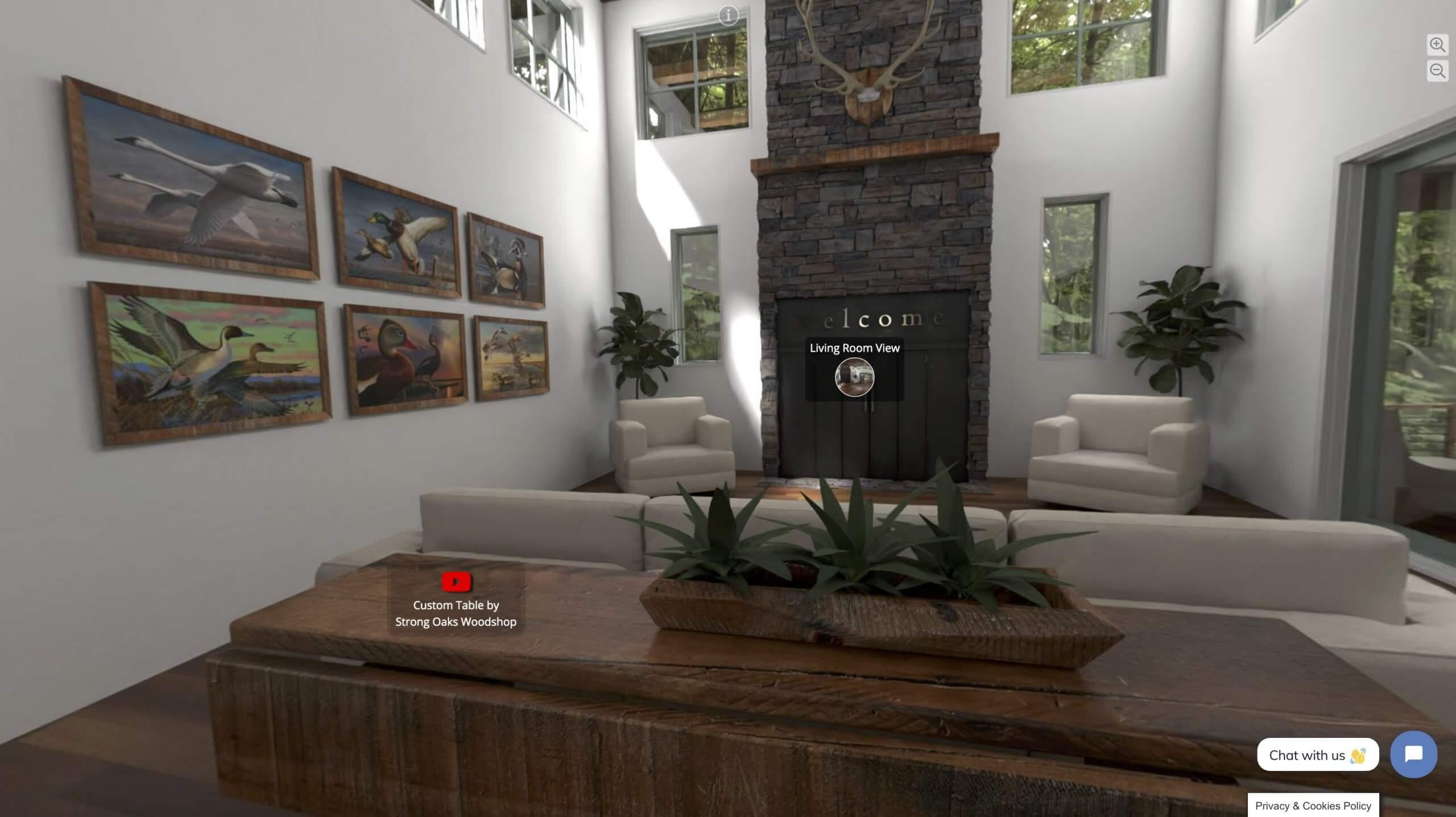 virtual tour in luxury lodge, virtual exhibits, skyline entourage