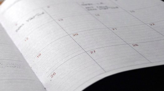 Calendar planner with dates marked for events, future of trade show marketing, Skyline Entourage