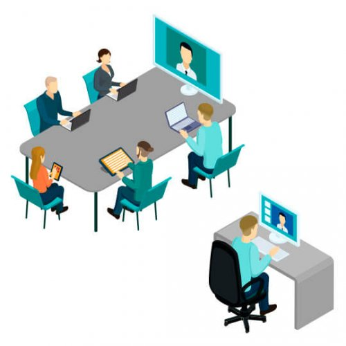 Illustration of face to face meeting and video distance meeting, trade show marketing, Skyline Entourage