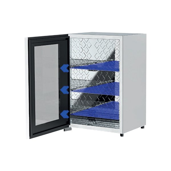 UVC disinfection storage device with shelving, covid-19 solutions, Skyline Entourage