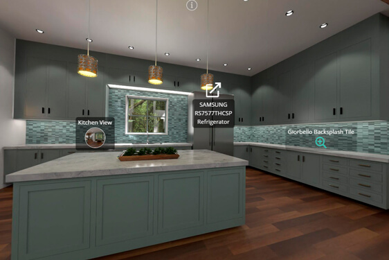 Interactive 3D render of a kitchen, trade show marketing, Skyline Entourage